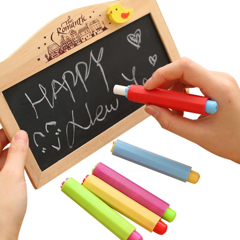 Kawaii Colored Chalk Holder Cute Dustless Chalk Pen Grip White Board Blackboard Chalk Clip For Student Stationery Shool Supplies