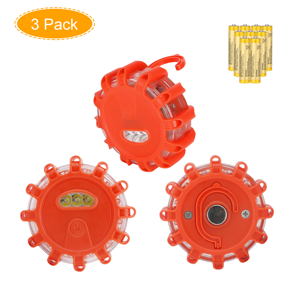 1/3-Pack LED Road Flares Flashing Warning Light Roadside Flare Emergency Disc Beacon Lamp with Magnetic Base for Car Marine Boat global elementary coursebook with eworkbook pack