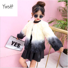 Ywstt 2017 new autumn/winter girl middle school girl child middle child tweening fur coat style fashion Real rabbit fur