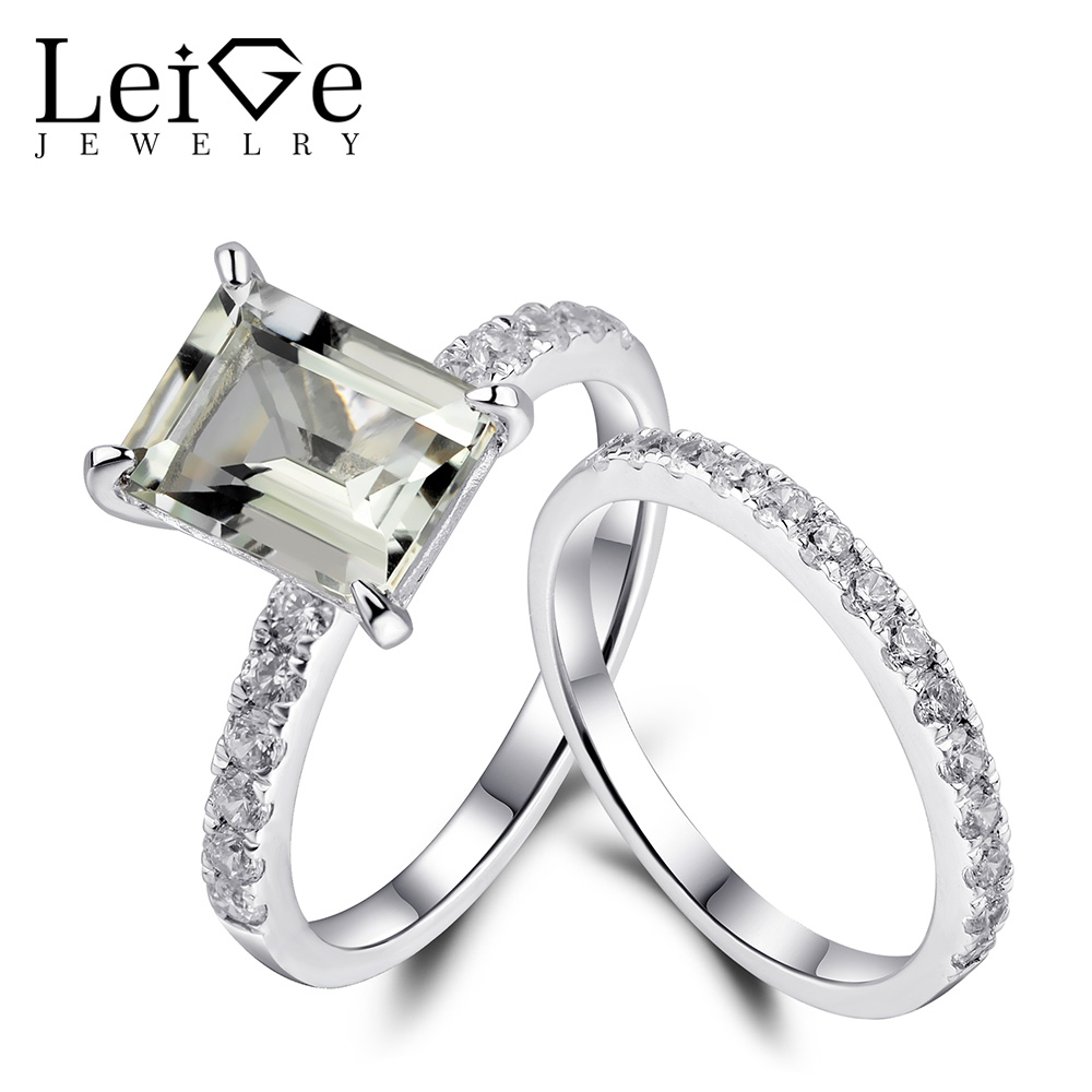 Leige Jewelry 925 Sterling Silver Green Amethyst Engagement Ring Set for Women Emerald Cut Natural Gemstone Rings Fine Jewelry leige jewelry emerald engagement rings for women pear shaped ring sterling silver 925 fine jewelry green gemstone may birthstone