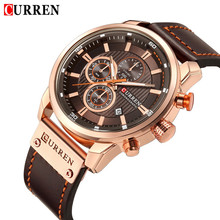 CURREN reloj deportivo para hombre, resistente al agua, con cronógrafo, militar, de cuero, 8291