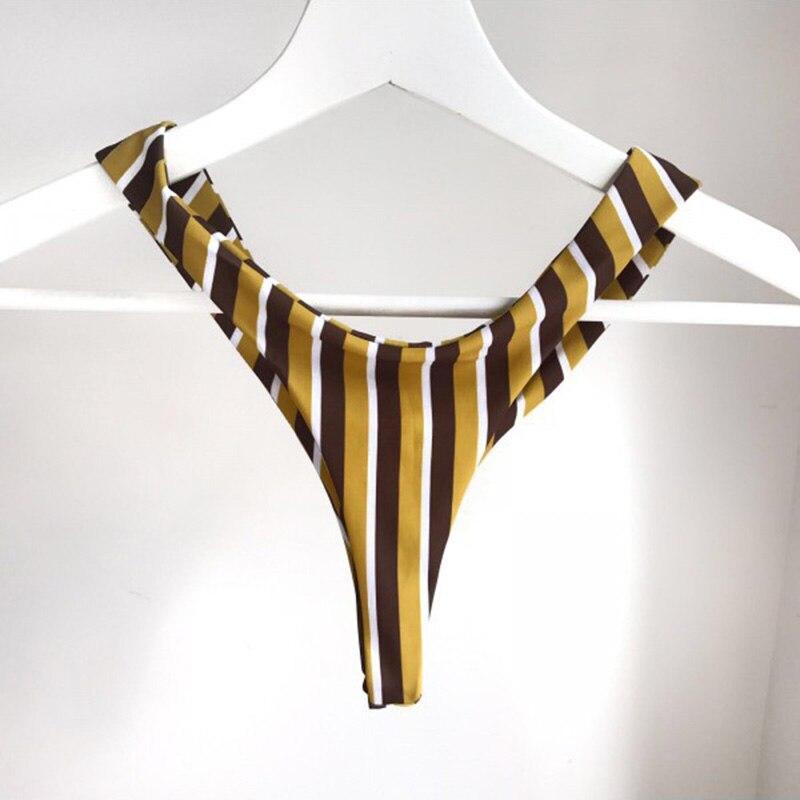 Women Sexy-Lingerie Nightwear Underwear G-String Striped Babydoll Bra Set Female Beach Clothing Bra Brief Set