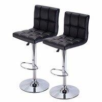 Set Of 2 Bar Stool PU Leather Barstools Chair Adjustable Counter Swivel Pub New HW51712 2BK
