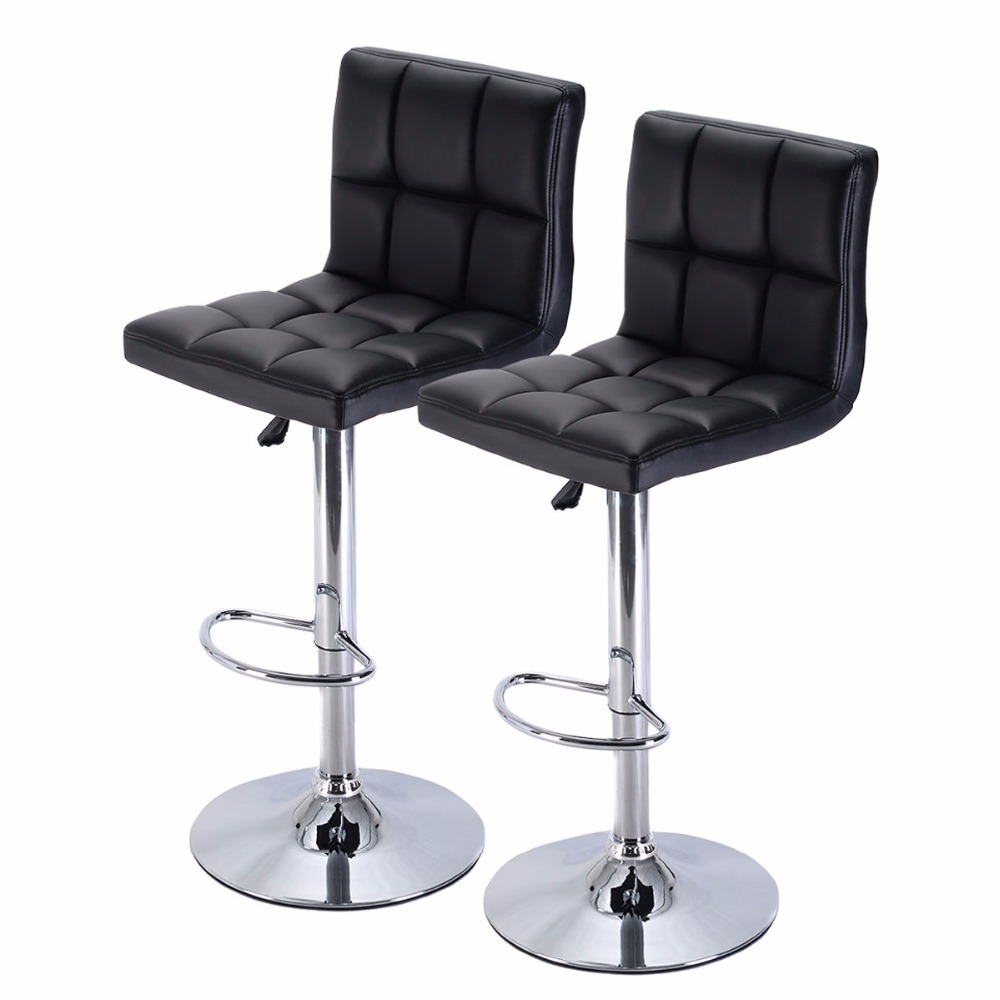 Set Of 2 Bar Stool Pu Leather Barstools Chair Adjustable Counter Swivel Pub New Hw51712 2bk In