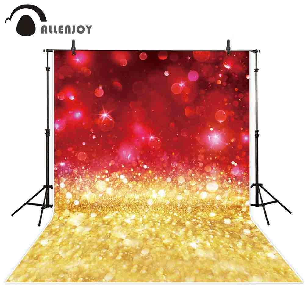 Allenjoy Background Wallpaper Glitter Red Gold Bokeh Sparkle Shimmer Shine Party Luxury Celebration Backdrop Photography