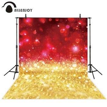 Fondo de fotografía de lujo para fiesta de Allenjoy, papel tapiz brillante, rojo, dorado, brillo, brillo, bokeh