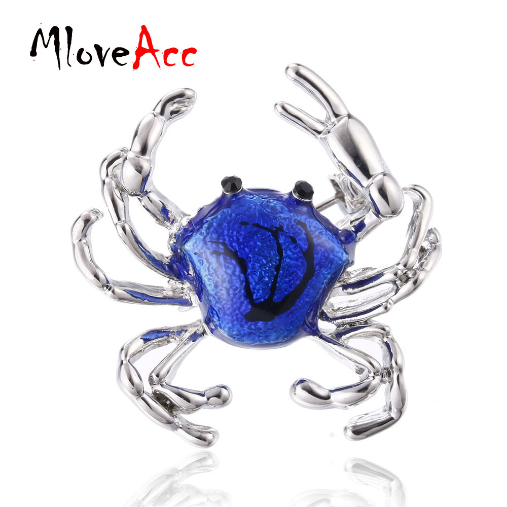 MloveAcc Cute Crabs Brooch Enamel Animal Corsage Pins Kids Women Shirt Coat Clips Brooches Clothes Accessories Jewelry