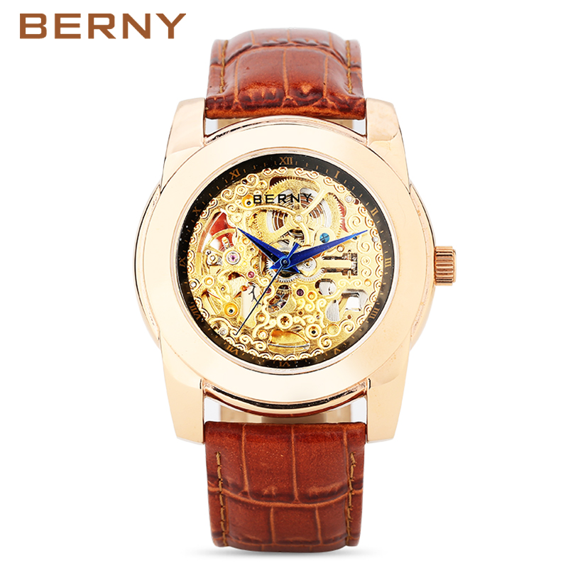 BERNY Gold Luxury Men Automatic Roles Watches Mens Golden Casual Mechanical Watches Male Clock Montre Automatique Homme AM7023M fngeen automatic watches waterproof leather rose gold mechanical watch men male clock luminous montre automatique homme relogio