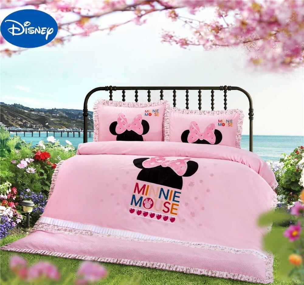 Кружевной комплект постельного белья Минни Микки Маус голова в форме девушки простыня для детской кроватки Дисней мультфильм аппликация и