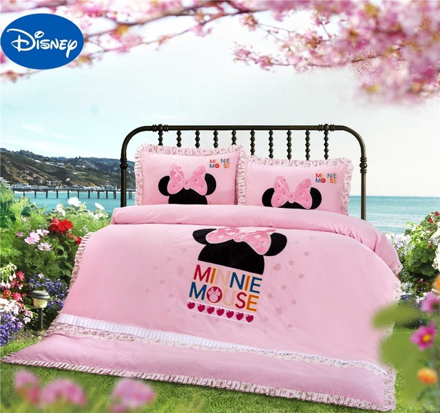 Lace Minnie Mouse Head Shaped Bedding Set Girls Baby Bed Sheet