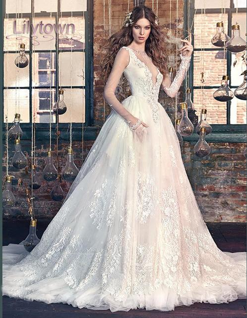 977a827551 2016 Lace Sheer Long Sleeves Deep V Plunging Neckline Ball Gown Snow White  Wedding Dress Vestidos De Noiva
