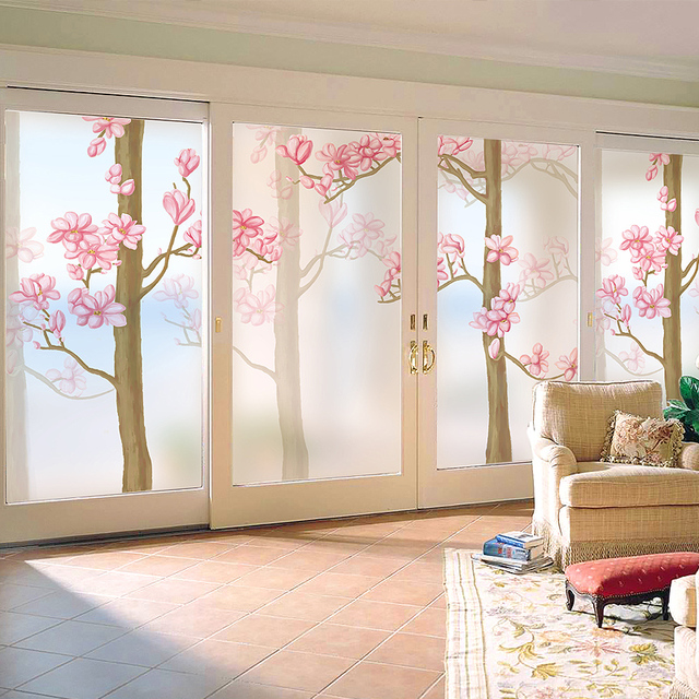 Decorative self adhesive/static cling frosted stained