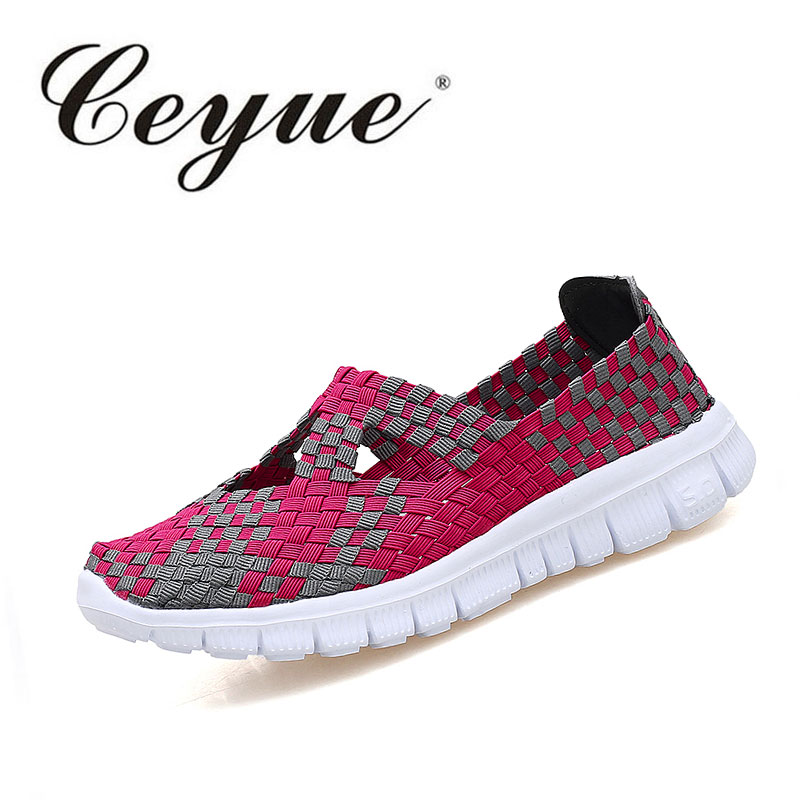 Ceyue 2017 Summer Women Weave Shoes Breathable Mixed Color Checkered Flats Mother Casual Shoes Loafers Ladies Shoes Plus Size 41 hot 2017 new fashion womens weave shoes spring summer mixed color breathable casual shoes flats slip on loafers tenis feminino