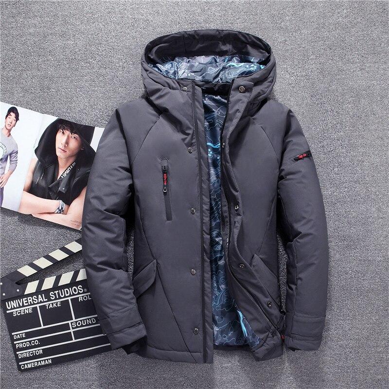 Veste d'hiver pour hommes gris rouge noir blanc mode élégant zipper canard doudoune hommes épaissir russie hiver manteau de neige marques - 2