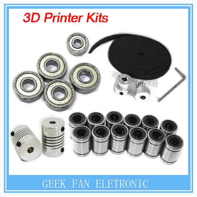 Impressora 3d reprap prusa i3 kit movimento cinto gt2 polia 608zz lm8uu rolamento 624zz rolamento & 5*5 acoplador do eixo kit024