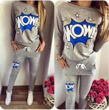 Free delivery Europe autumn 2016 trend O neck letters printing leisure fleece go well with promote like scorching hoodies units ladies's go well with