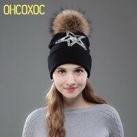 OHCOXOC New Women Beanies Real Mink Fur Pom Poms Ball Cap Keep Warm Beanies Skullies Big