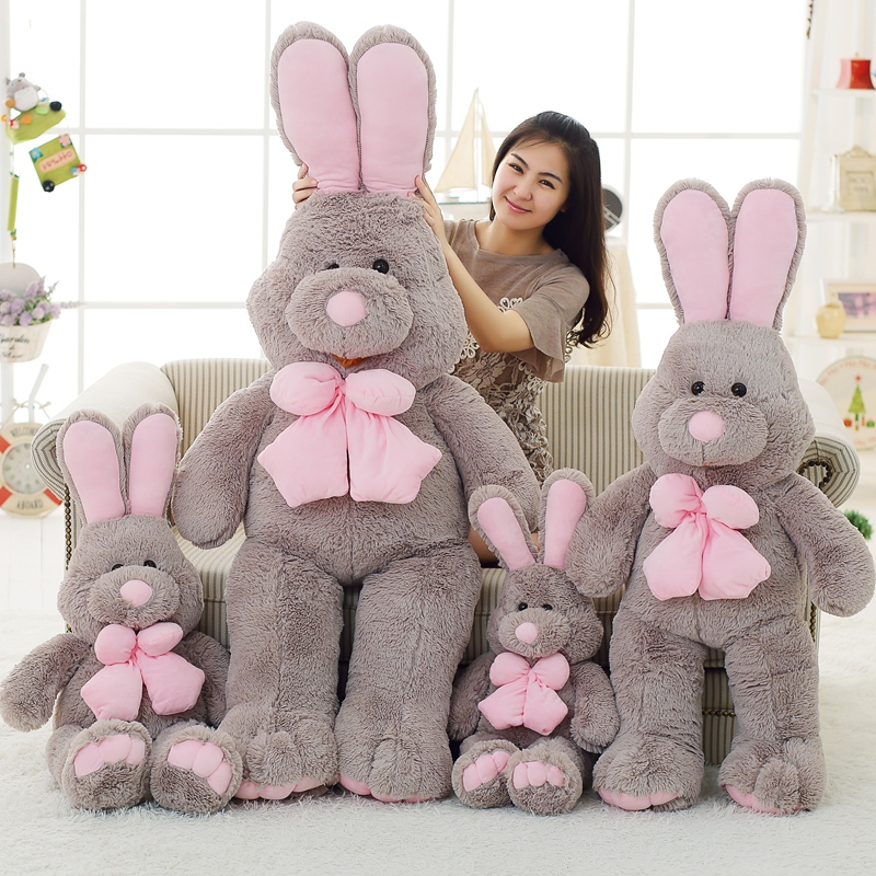 1pcs 80cm Cute American Big Rabbit Stuffed Dolls Plush Toy America Rabbit Animal With Long Ears Toys For Children 1pc 16cm mini kawaii animal plush toy cute rabbit owl raccoon panda chicken dolls with foam partical kids gift wedding dolls