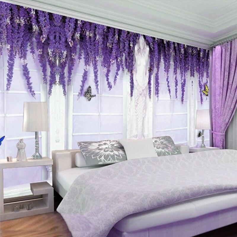 Custom 3d Mural Wallpaper Bedroom Purple Flower Vine Butterfly European Style Tv Background Wall Painting Wall