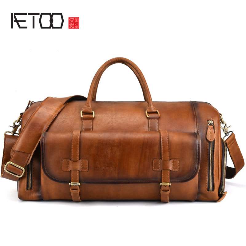 AETOO Leather Men's Handbag Big Bag Retro First Layer Leather Travel Bag Duffel Bag Large Capacity Rub Color Men's Bag