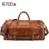 AETOO кожа для мужчин's большая сумка ретро первый слои кожаная дорожная сумка вещевой мешок большой ёмкость руб цвет мужчин