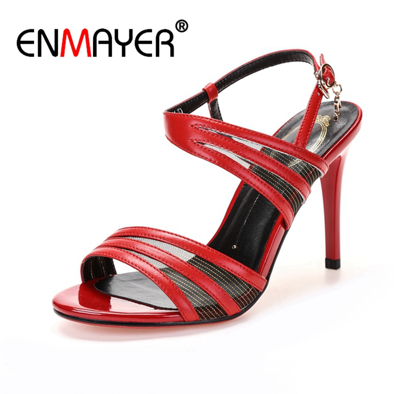 ENMAYER Lady High heel Shoes Women Sandals Summer Causal Party Hollow Open toe High Thin heels Buckle strap Black Red Sale CR49 women pointed toe buckle thin high heels red bottom sandals shoes t strap print leather plus size lady sandals 42 51 sxq0710