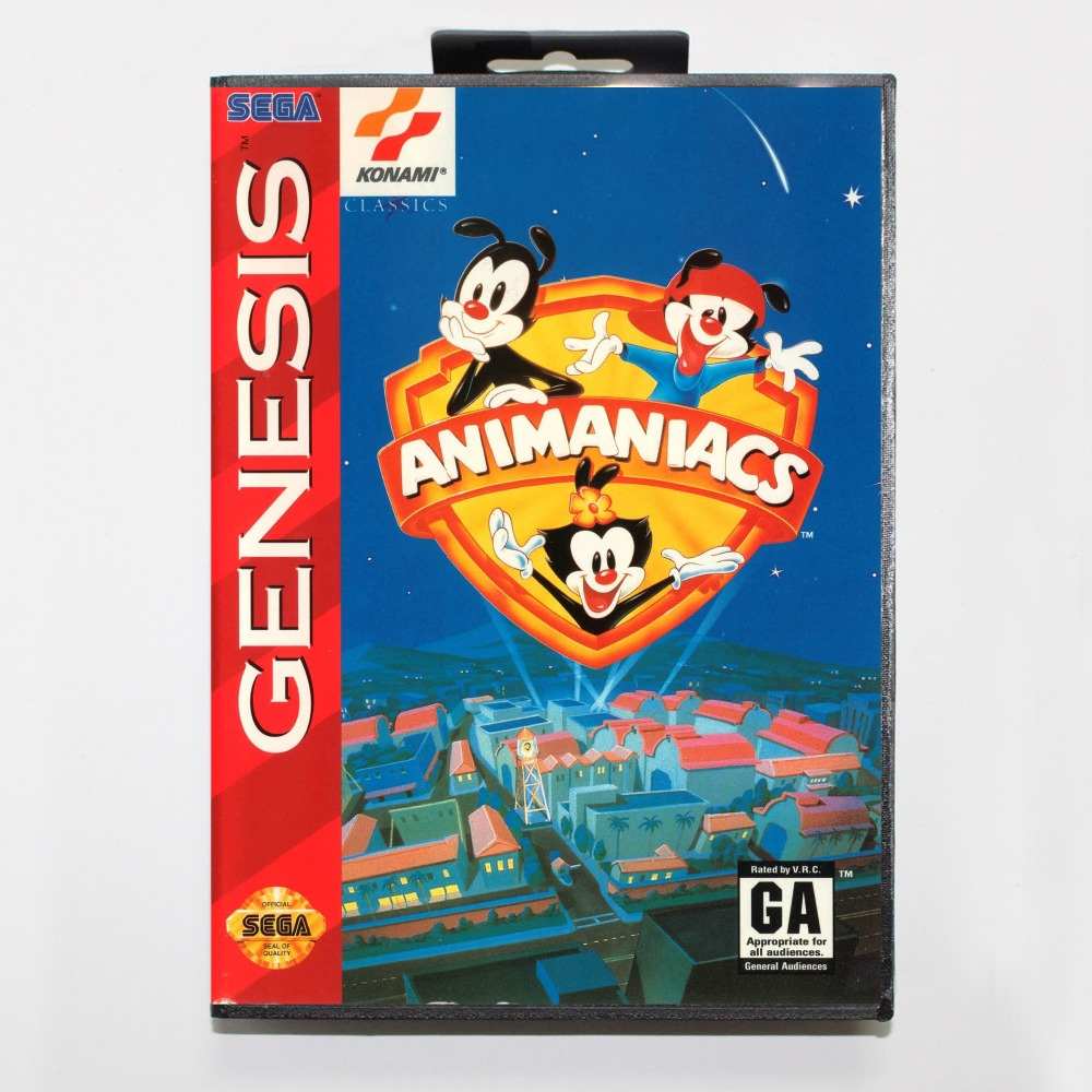 New 16 bit MD game card - animaniacs with Retail box For Sega genesis system