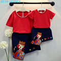Bear Leader 2016 Spring Style Family Matching Outfits Mother And Daughter Red Short Sleeve+Print Dress for Fanily Grils Clothes