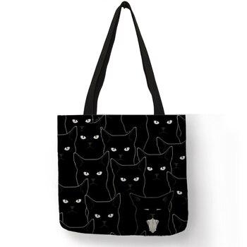 새 숙녀 토트 백 sumi 검은 고양이 인쇄 리넨 패브릭 에코-친화적 인 핸드백 쇼핑 사무실 재사용 캐주얼 숄더 백