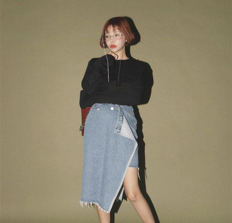 Moda Coreano Mujer Faldas 2019 Streetwear Denim Primavera Verano Wang Mujeres Estilo Para Rasgado Falda Whitney Asimétrico wYqFABIxK