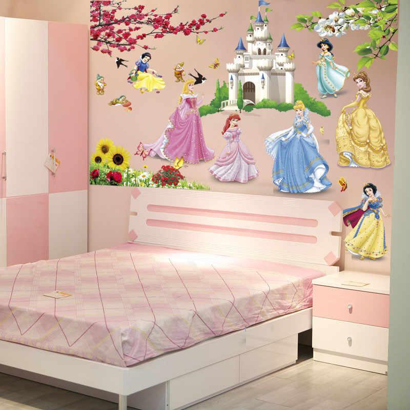 % removable diy seven princess birds flower castle wall stickers home decor kids rooms girl children's bedroom sticker wallpaper