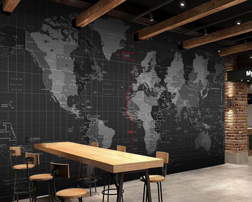 Free Shipping Personality Technology World Map Mural Wall Restaurant Wallpaper Cafe Mural Bar Hotel Custom 3D Mural Best Price custom mural 3d korean cuisine wallpaper leisure bar restaurant theme hotel snack shop background beverage food wallpaper mural