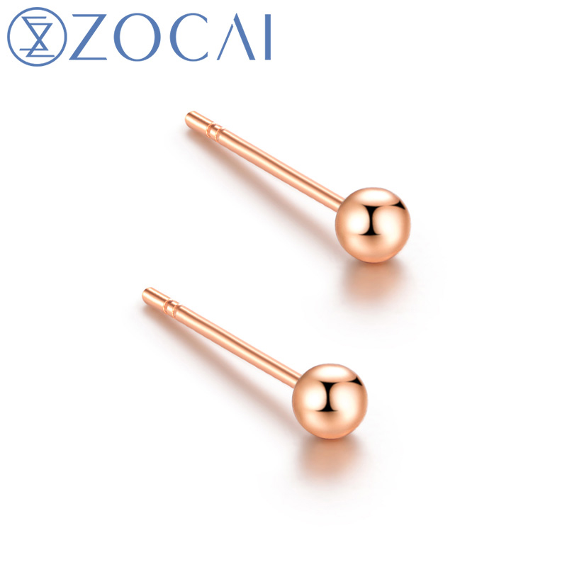 ZOCAI Real 18K Rose Gold Stamped Au750 Stud Earrings 18K White Gold 18K Yellow Gold Available E00992 1000pcs 0402 18k 18k ohm 5