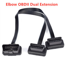 16 Pin ELM327 Male To Dual Female Y Splitter Elbow Extension Connector Cable Flat+Thin As Noodle OBDII OBD 2 OBD2 Dual Female