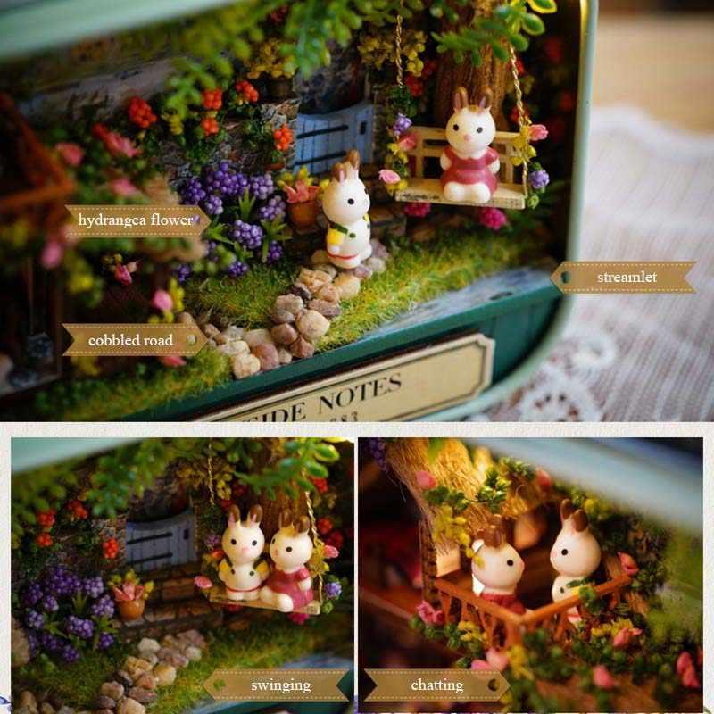 Mobili fatti a mano Della Casa di Bambola FAI DA TE in miniatura casa di bambola 3D di Legno miniature Casa Delle Bambole Giocattoli per il Natale e il regalo di compleanno V4-V6