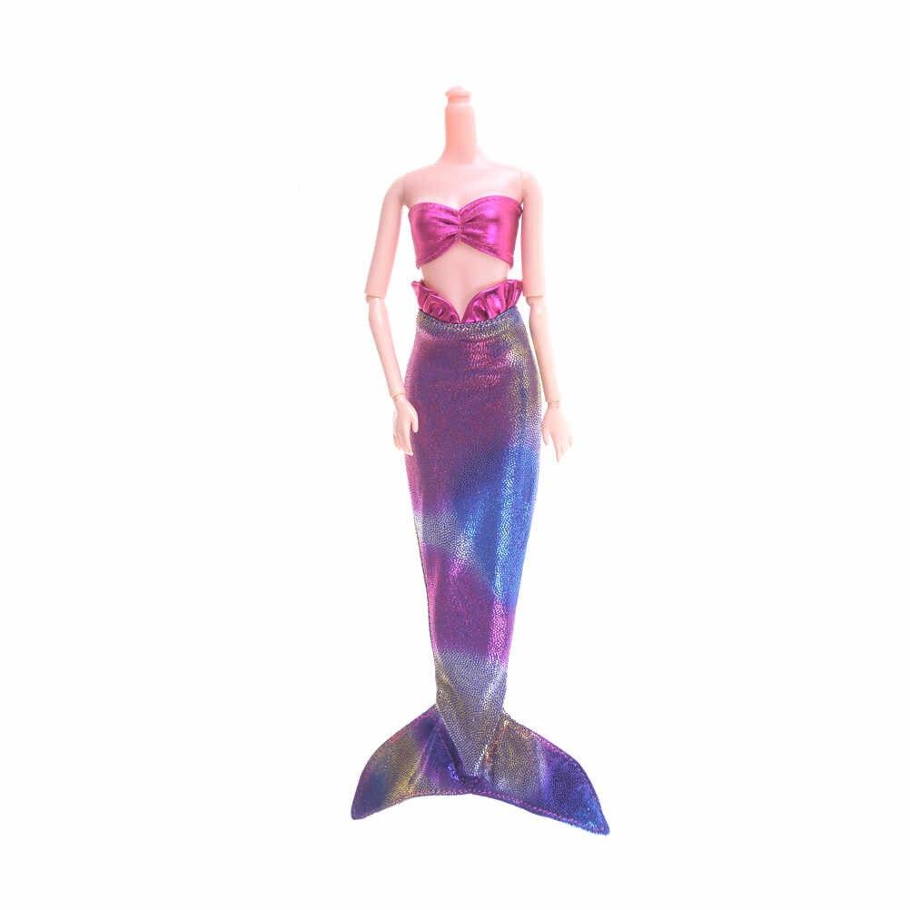Вечерние платья ручной работы с куклами, юбка, модная одежда для куклы, подлинное платье с хвостом русалки, детская игрушка, 1 комплект, платье с хвостом