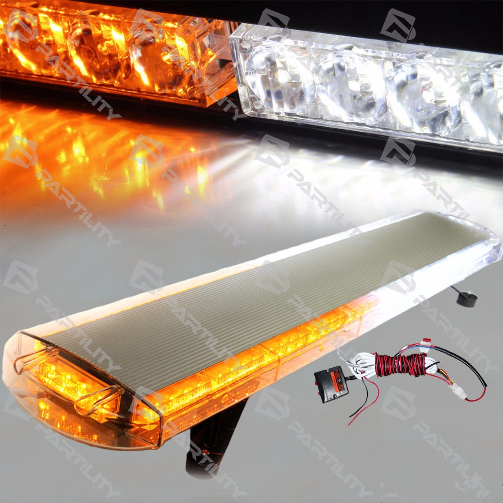 CYAN SOIL BAY 88 LED 48 inch Amber White Emergency Warning Truck Strobe Tow Light Bar Roof