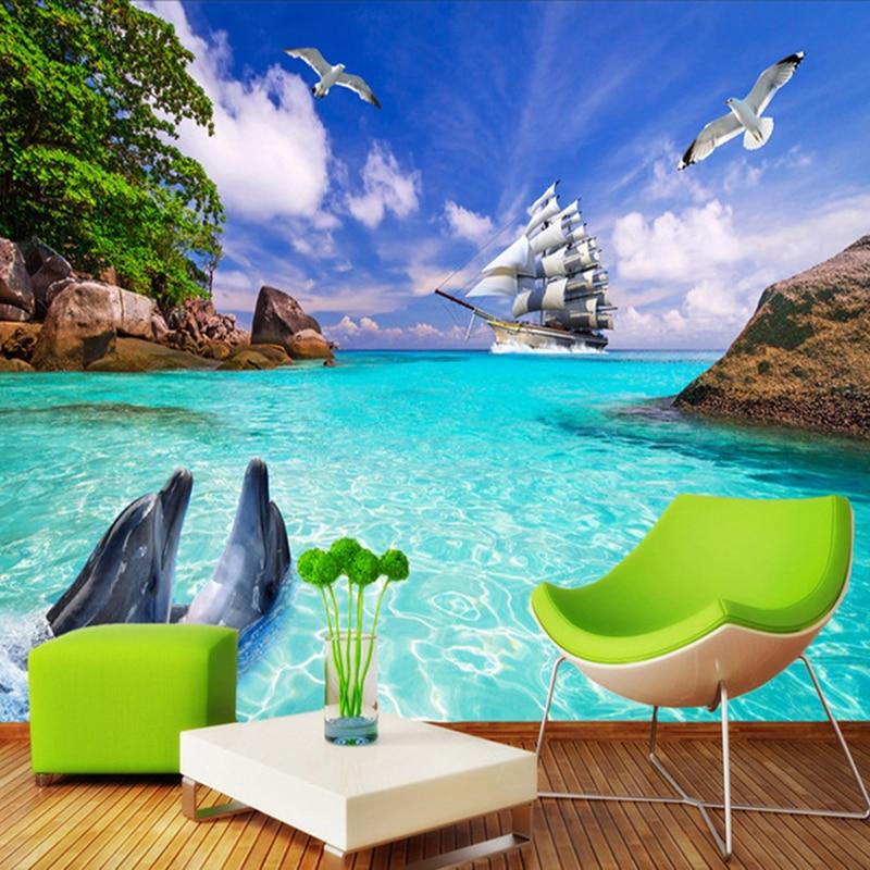 Custom Photo Wallpaper Murals 3D Dolphin Sailboat Sea View Non-woven Fabric Large Mural Wallpaper Living Room Wall Decoration