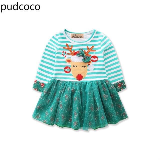 590ce63aee0 Noël enfants bébé filles robes vertes coton rayé Tulle fête Tutu robes de  noël à manches