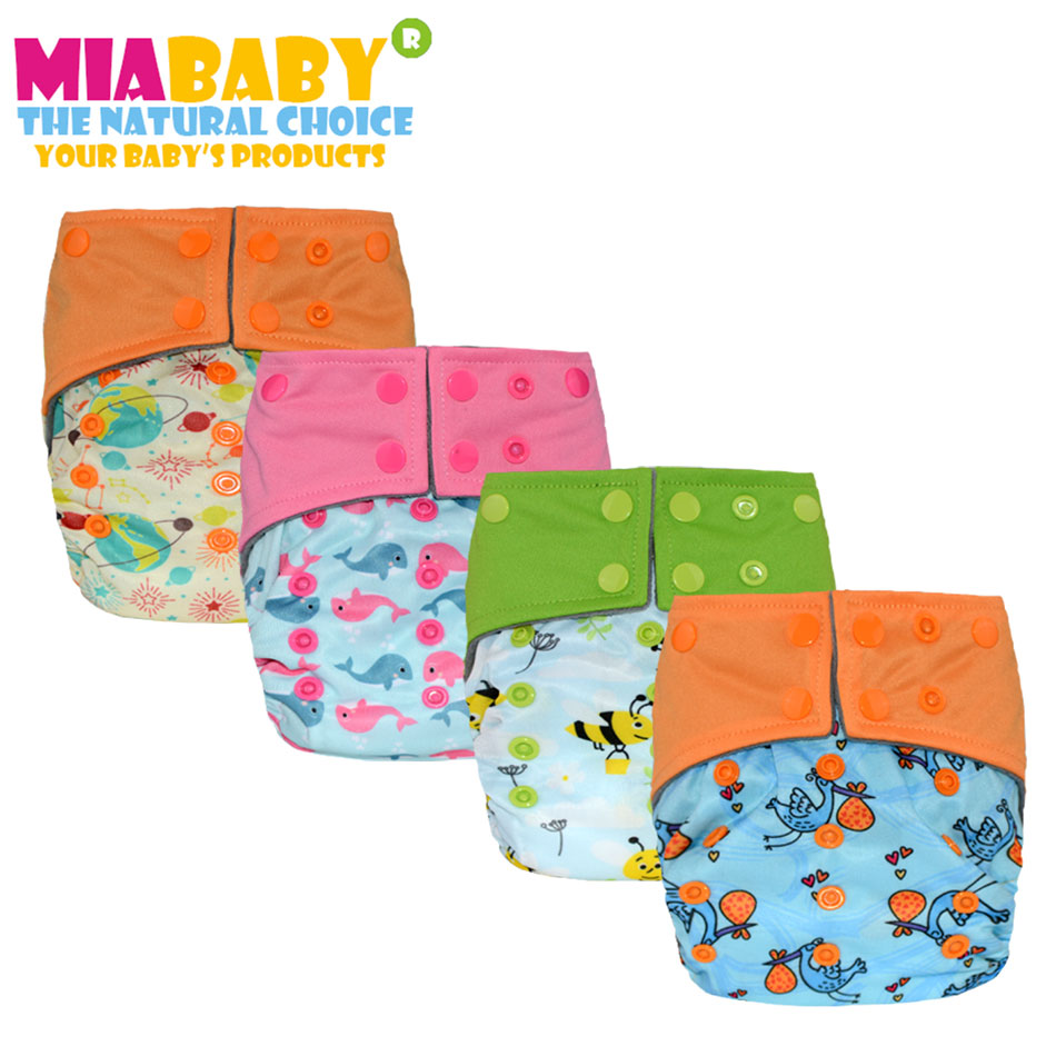 Miababy (3pcs/lot) AIO and pocket cloth diaper, onesize fit all, with sewn insert, waterproof and breathable, no rash