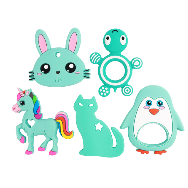 TYRY.HU Baby Silicone Teethers BPA Free Teething Toy Animal Dog Koala Owl Elephant Baby Ring Teether Silicone Beads DIY Chain