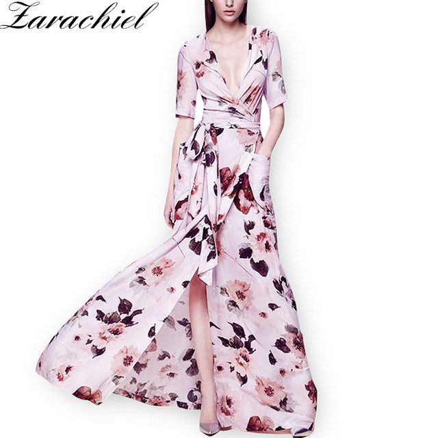 918e704465b2f Pink Floral Print Vintage Maxi Women Dresses Summer Boho Casual V Neck Belt  Pocket Wrap Dress
