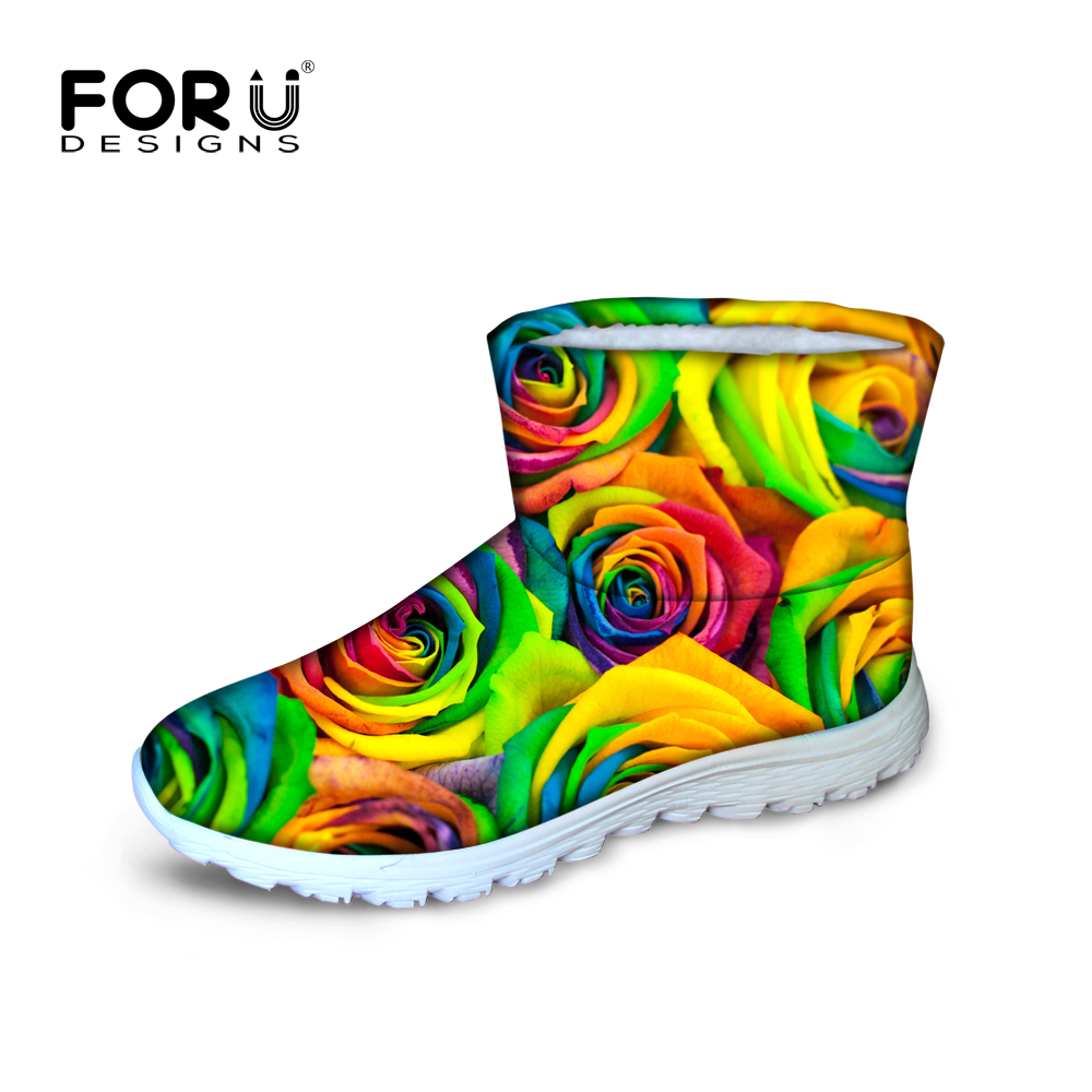 FORUDESIGNS 2016 Fashion Floral Printed font b Women b font Winter Snow Boots Comfort font b