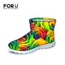 FORUDESIGNS 2016แฟชั่นลายพิมพ์ผู้หญิงรองเท้าหิมะฤดูหนาวผู้หญิงC Omfortดอกไม้สูงด้านบนรองเท้าฝนผู้หญิงรองเท้าข้อเท้าอบอุ่น