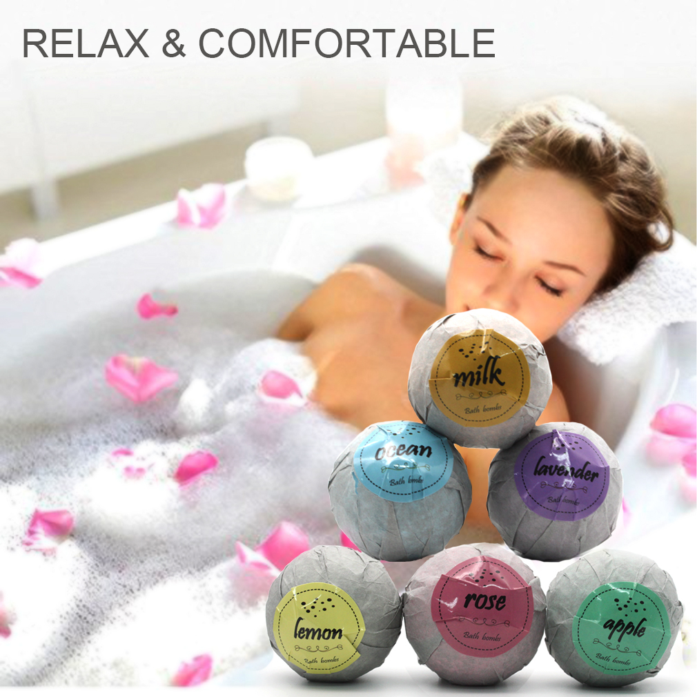 Купить с кэшбэком 6 pcs Organic Bath Bombs Bubble Bath Salts Ball Essential Oil Handmade SPA Stress Relief Exfoliating Mint Lavender Rose Flavor