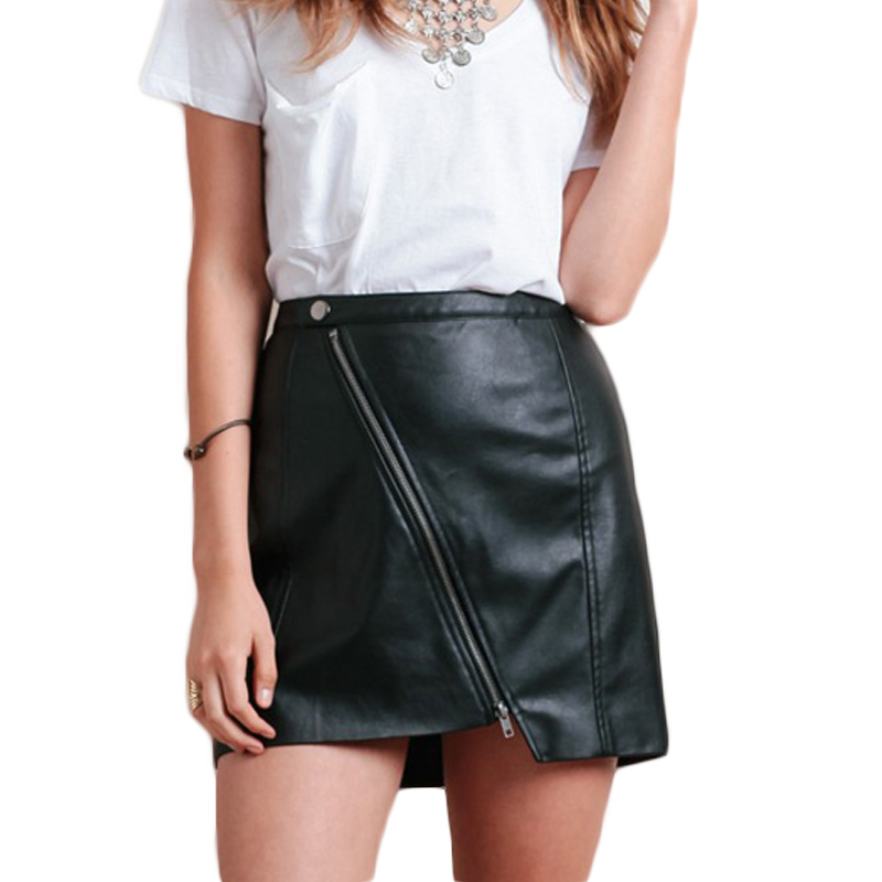 Black asymmetric faux leather bodycon skirts for women high waisted PU bodycon skirts for ladies winter short pencil skirts