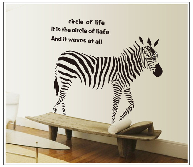 Online Shop Zebra Wall Stickers Simple And Stylish Home Garden