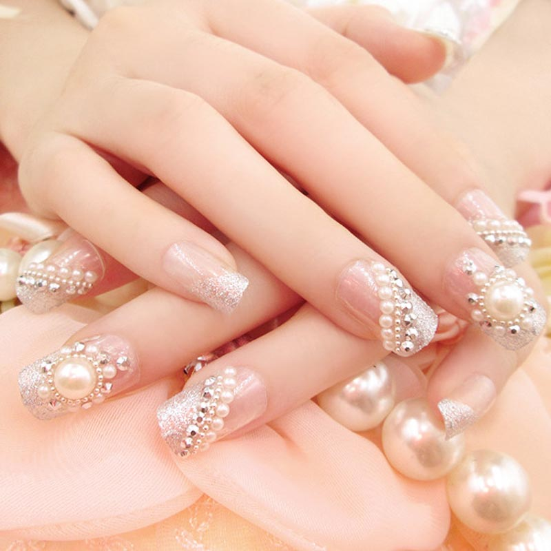 Fashion Women Ladies Fake Nails With Glue Sticker Shining Beads Decoration Wedding Bride False Nail Tips 24 Pcs/Set-in Stickers & Decals from Beauty & ...