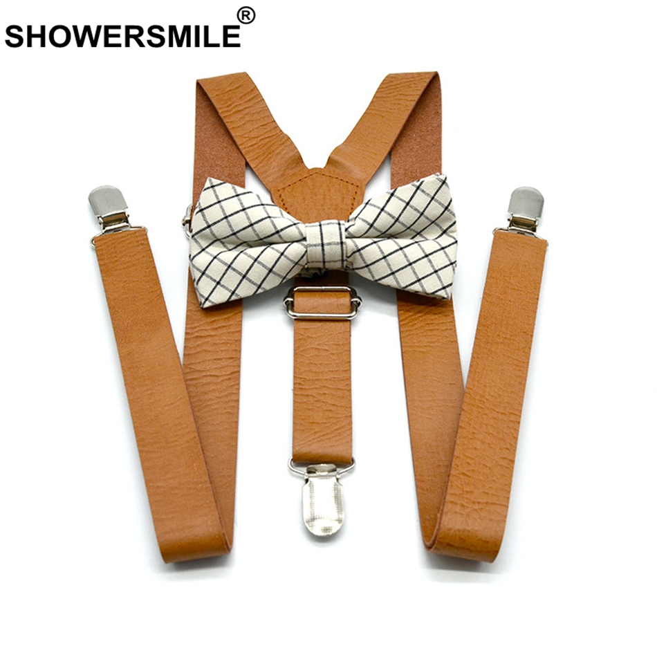 SHOWERSMILE Women Leather Suspenders Khaki Men Suspenders With Bow Tie British Style Solid Unisex Y Back Adjustable Pants Strap
