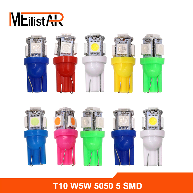 10X T10 5SMD DC 12V 1W 5050 5 SMD 192 168 194 W5W white/blue/red/green/yellow/pink Xenon LED Side Light Wedge Bulb Lamp For Car  100pcs t10 3w 360 degree wedge 5050 9 smd led bulb xenon white white warm white yellow red blue green car tail light